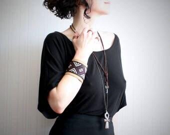 cross stitch leather cuff // wide leather bracelet // women's cuff bracelet // boho leather cuff // festival jewelry // southwestern jewelry