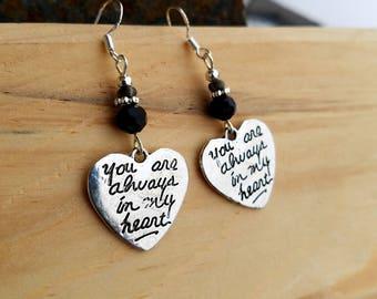 Black Always in my Heart Earrings, Black Heart Sterling Silver Dangle Earrings, Always in my Heart Silver Black Sterling Silver Earrings