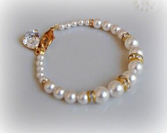 Gold Bracelet, Swarovski Pearl and Crystal Rhinestone Bracelet, Silver Wedding Bracelet - Sarah