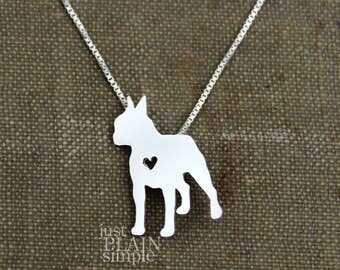 Boston Terrier necklace, tiny sterling silver hand cut pendant with heart, tiny dog breed jewelry