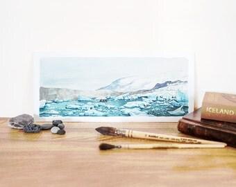 Glacier Lagoon, Iceland - Jokulsarlon, Fine Art Print, Home Decor, Small Print, Explorer Illustration, Watercolor Painting