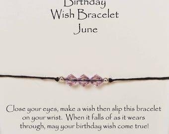 Birthday wish bracelet, Crystal wish bracelet, Swarovski crystal w cord adjustable birthstone bracelet w card, birthday wish string bracelet