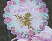fairy party centerpieces, fairy centerpiece sticks, 1st birthday fairy centerpiece, purple and gold fairy birthday party, fairy garden party