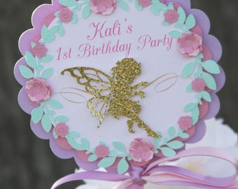fairy party centerpieces, fairy centerpiece sticks, 1st birthday fairy centerpiece, purple and gold fairy birthday party, fairy garden party