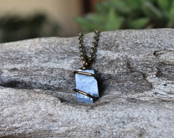 Blue Calcite Necklace - Raw Stone Jewelry - Wire Wrapped Stone Pendant - Boho Jewelry - Bohemian Jewelry - Blue Stone Necklace - Boho Chic
