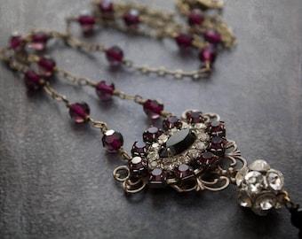 Evil Eye Rhinestone Necklace Assemblage Purple Black Rhinestone Ball Antique Brass Curb Chain Tassel Crystal Rosary Chain Long Repurposed