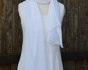 White linen scarf, summer scarf, linen accessories, woman scarf, mothers day scarf