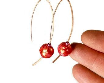Minimalist Earrings, Modern Dangle Earrings, Red Bead Earrings, Copper Jewelry, Handcrafted