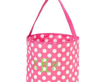 Monogrammed Pink with White Dots Easter Bucket Tote