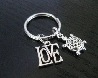 LOVE Turtles Key Ring
