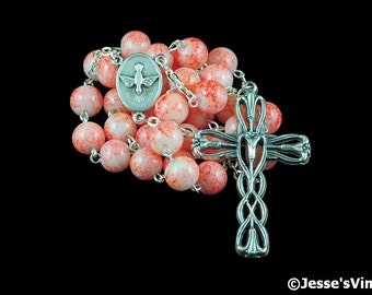 Anglican Rosary Orange White Glass Prayer Beads Silver Christian Episcopal Rosary Beads