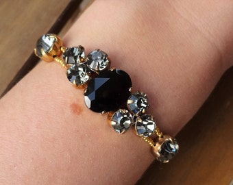 Gray Black and Gold Swarovski Crystals Bracelet