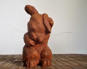 Vintage Primative Carved Wood Bunny Rabbit Figure