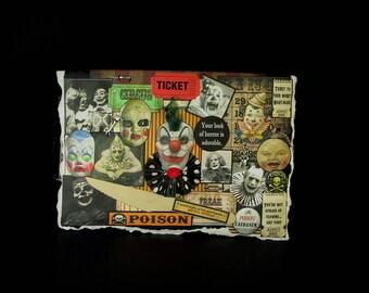 Blank Clown Card, Clown Card, Scary Clown Card, Circus Clown Card, 103, Creepy Clown Card, Vintage Clown Images, Creepy Decoration,  Blank