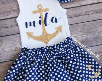 Baby Girl Outfit; Nautical Anchor Outfit; Baby Girl Anchor Outfit; Nautical Anchor Name Onesie with Navy Dot Skirt and Glitter Headband