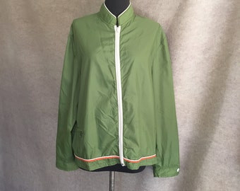 Vintage 70's Jacket or Windbreaker, Green Jacket, Women's Medium to Large, Lightweight, Bust 46