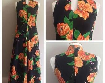 Phil-Mur Vintage Dress // Long Dress Orange Florals // 2 Piece Vintage 70s