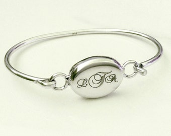 Sterling Silver Monogrammed Bracelet . Personalized Wedding Anniversary Gift . Personalized Initials
