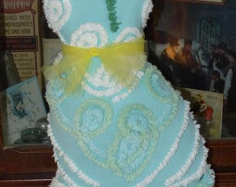 Vintage Chenille Bedspread Kitty Cat Pillow Turquoise