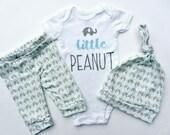 Little Peanut Baby Shower Baby Boy Onesie Elephant Nursery Baby Boy Leggings Blue and Gray Newborn Coming Home Clothes