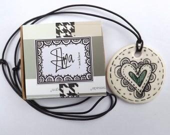 Eliza heart Pendant porcelain necklace, hand painted heart necklace, porcelain necklace, hand made heart necklace, adjustable length