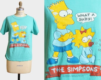 Vintage 90s The Simpsons Shirt Bart Maggie Simpson What A Baby Shirt Graphic TShirt Cartoon 1990s Retro Tv Show Vintage T Shirt Extra Small