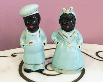 Vintage 50s Black Americana Mammy Salt and Pepper Shakers Turquoise Blue