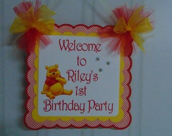 Winnie the Pooh Welcome Door Sign- Birthday, banner, Disney birthday, girl birthday, 1st birthday, Pooh decorations
