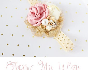 Glow My Way - blush vintage pink ivory gold satin rose rosette chiffon flower headband bow