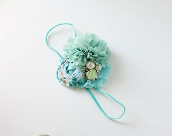 My Side of the Sea - mint spearmint aqua seafoam chiffon rosette headband bow
