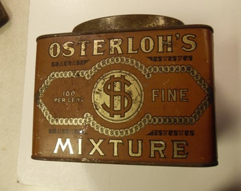 Osterlohs tobacco tin, vintage tobacco tin, old tobacco tin, tobacco tin, large osterloh's tobacco mix