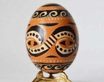 Trypillian  Pysanka egg Ukrainian Easter egg, hand painted chicken egg shell