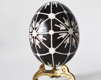 black and white ornament on real chicken egg shell Pysanka egg simple and classy in black