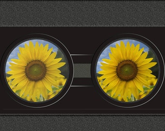 Sunflower Photo Sandstone Car Coasters,  Floral Art, Sunflowers, Pair of Sandstone Car Coaster, Cup holder Coaster,  sunflowers for car