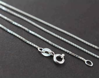 Bulk Chains Box Chain Necklaces 925 Sterling Silver 14 16 18 20 22 24 inches 5 Finished Chains at 60% Off Retail, Wholesale Chains