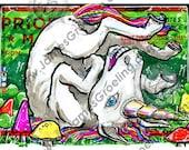 "Weird Unicorn, approx 4x5"" hand-cut print (sticker slapz - Series II)"