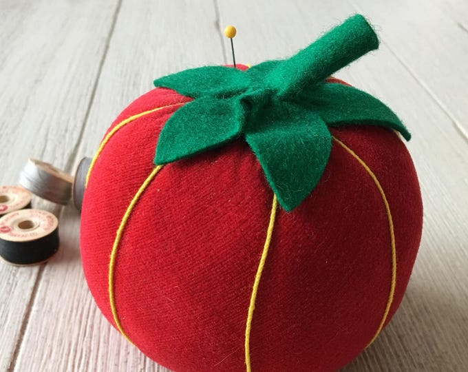 Vintage Red Velvet Tomato Large Pincushion