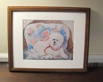 White Dog On a Chair, Print of Painting With Mat 11 x 14