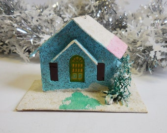 Vintage Putz House Christmas Blue pink white roof snow glitter  tree light up miniature ornament village