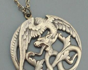 Vintage Necklace - Art Nouveau Necklace - Dragon Necklace - Chloes Vintage Jewelry - Brass Necklace - handmade jewelry