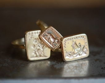 Victorian double-sided wax seal ring ∙ 10K wax signet ring ∙ Jean Jean Cachet Collection