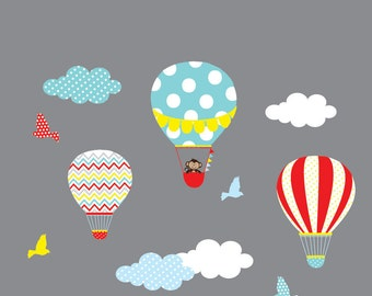 Vinyl Wall Decal Nursery Wall Decal,Hot Air Balloon,Balloon Wall Decal,Chevron Pattern,Boy Girl Nursery