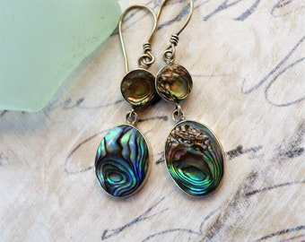 Ocean Waves, Vintage Inlayed Abalone Sea Shell, Mother of Pearl Retro Boho 925 Silver Earrings from Hollywood Hillbilly