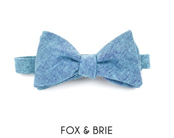 Ocean Blue Chambray Bow Tie