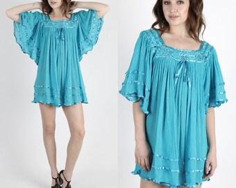 Boho Dress Hippie Dress Mexican Dress Gauze Dress Vintage Dress Floral Crochet Lace Teal Gauze Angel Sleeve Dress Tunic Mini Dress
