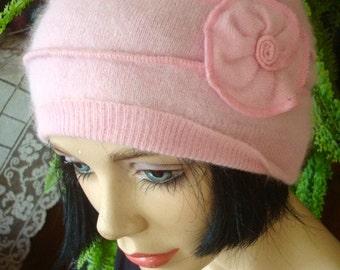 womens headband wide pink angora