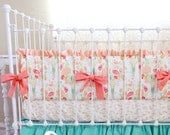 30% off SALE Baby Girl Crib Bedding - Reminisce Jade BUmper- READY to SHIP