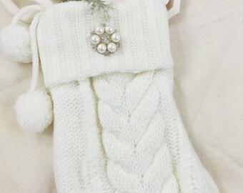 Christmas Stocking-Cable Knit Stocking- Mini Stocking