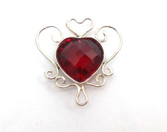 Heart Shaped Ruby Created Upcycled Gemstone Hand Fabricated Sterling Silver Pendant July Birthstone Love Valentine's Day