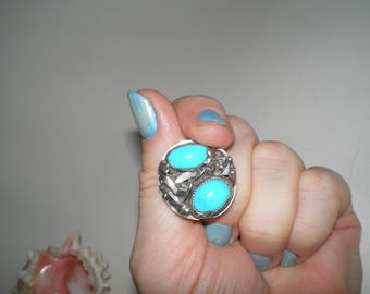 """BOLD Turquoise Ring HUGE Sterling Silver Brutalist Art Ring One of A Kind Unisex Treasure Size 11-1/2 """"End Of Day"""""""